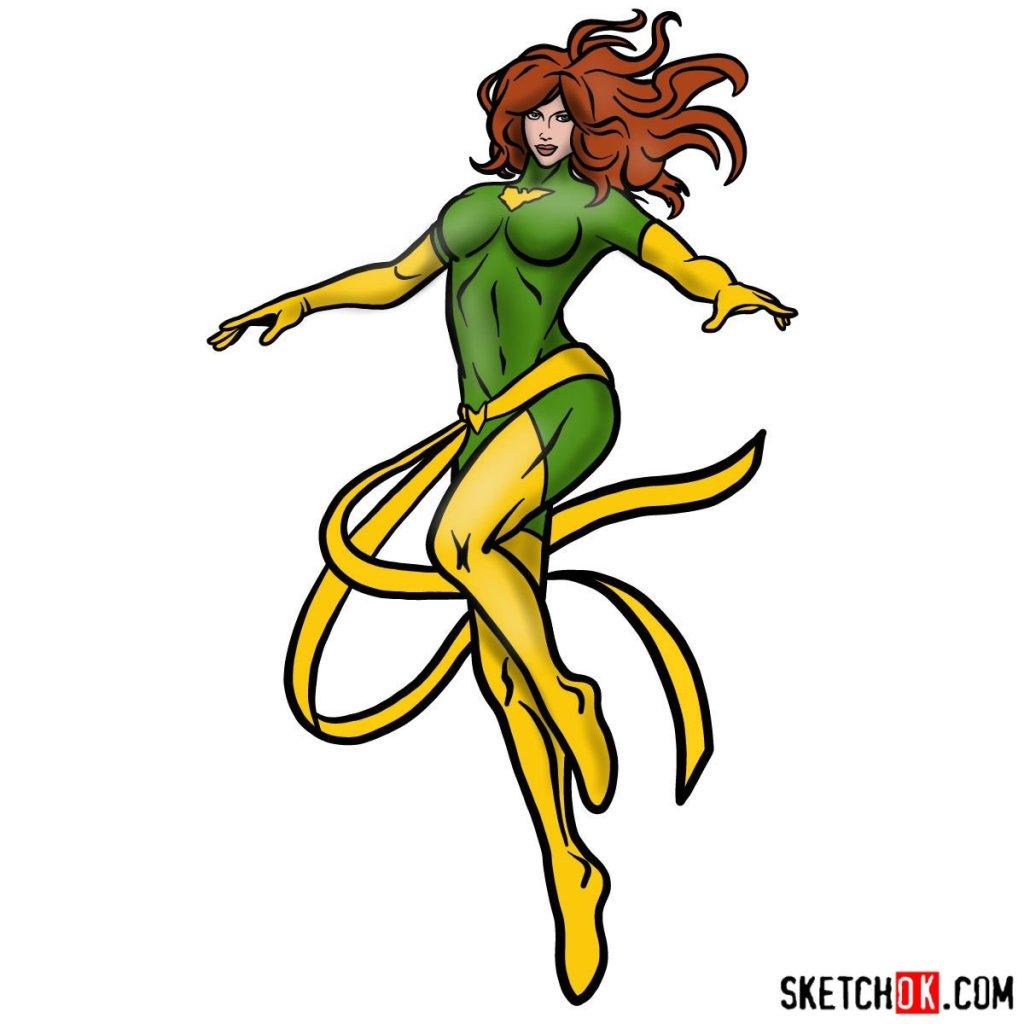How to draw Dark Phoenix (X-Men) in full growth