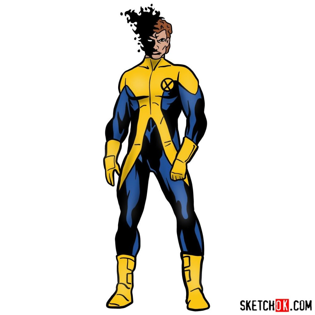 How to draw Sunspot (X-Men)