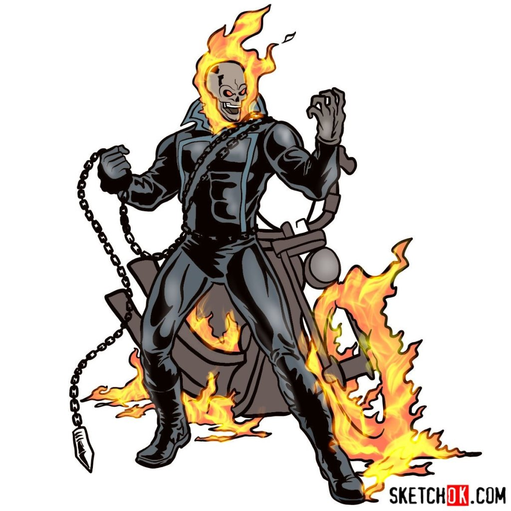 How to draw Ghost Rider with his flaming bike