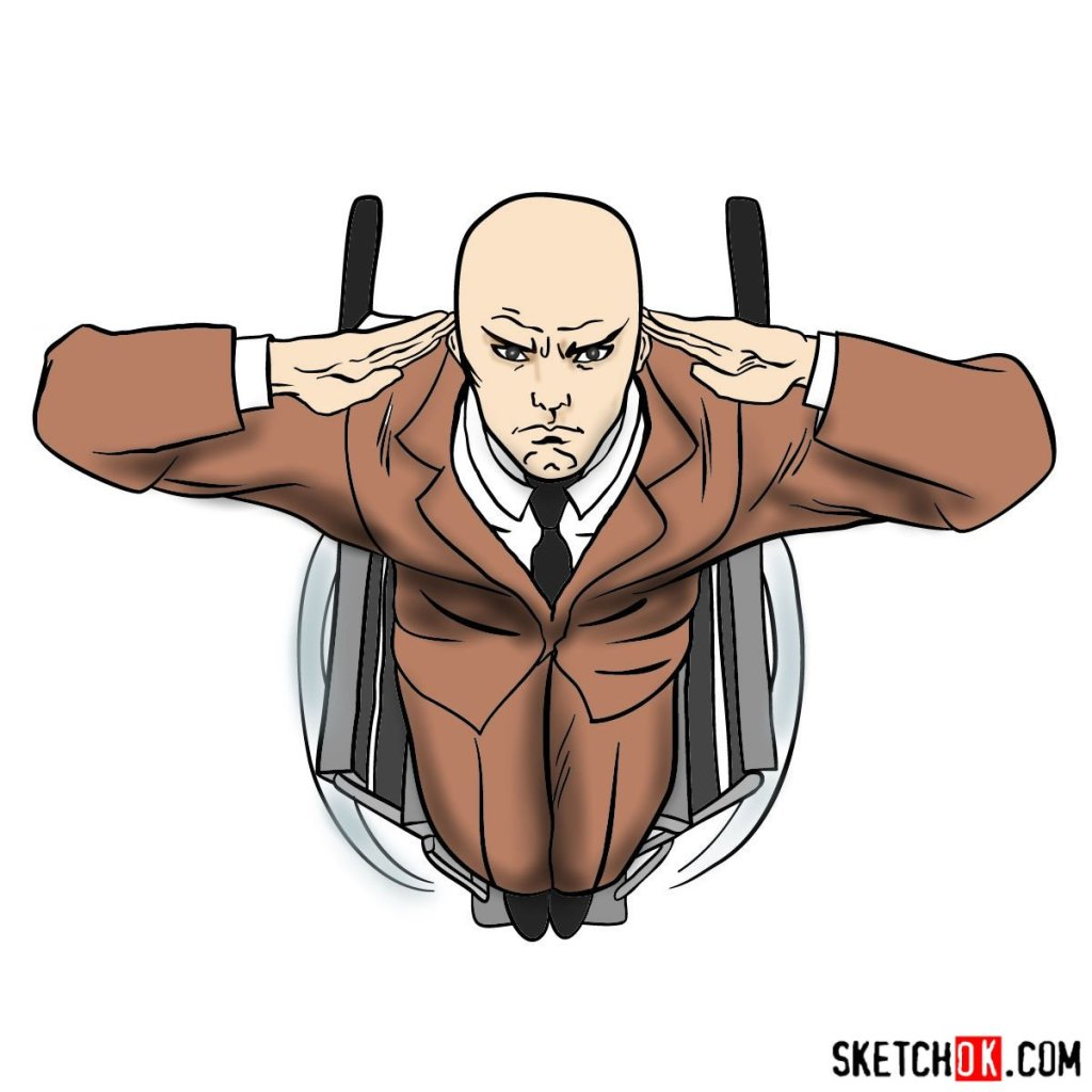 How to draw Professor X in the wheelchair