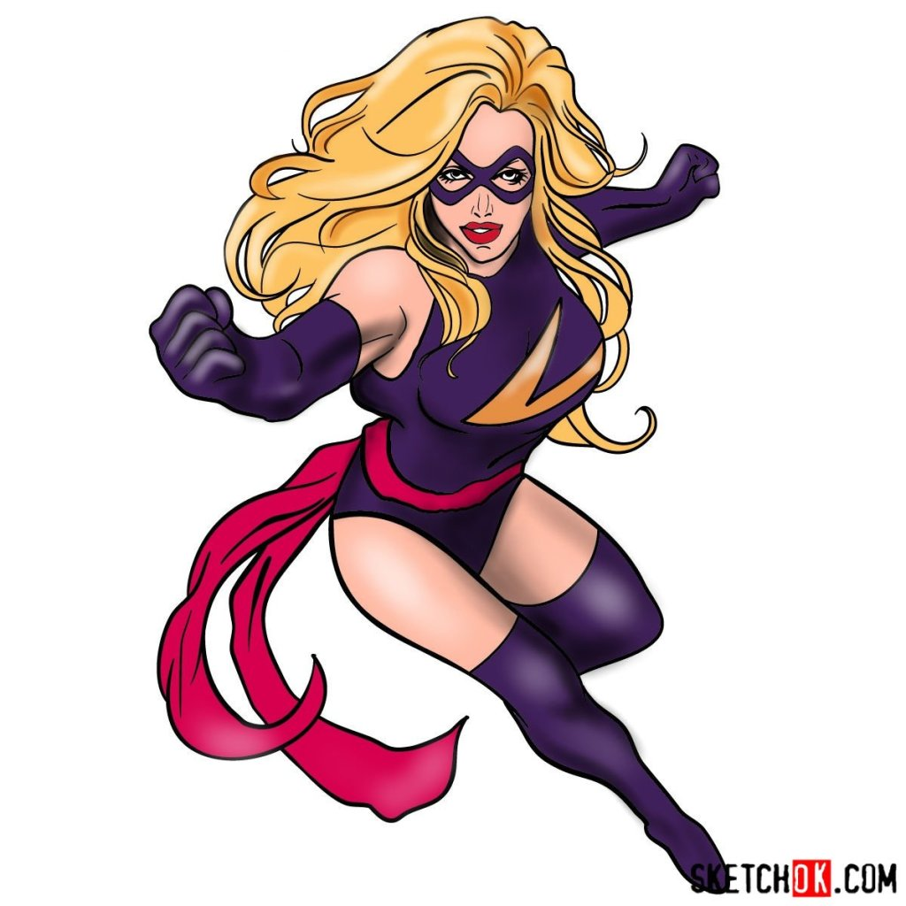 How to draw Ms. Marvel (Carol Danvers)