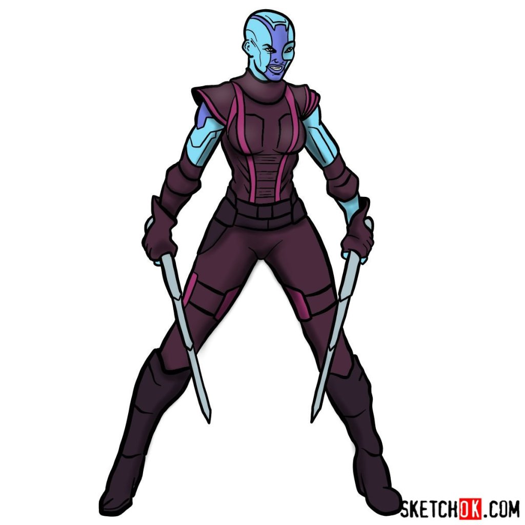 How to draw Nebula from Guardians of the Galaxy