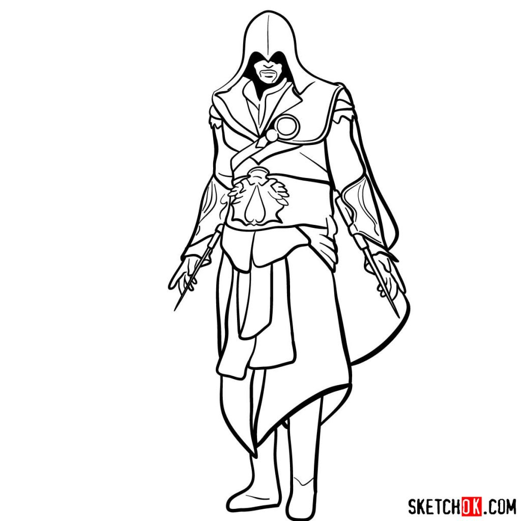 How to draw an Assassin from Assassin's Creed game