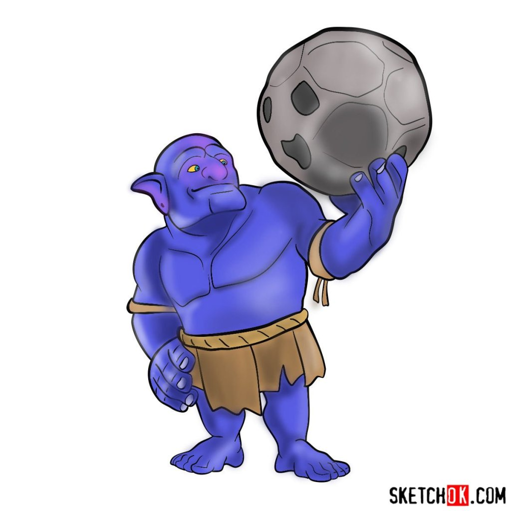 How to draw Bowler from Clash of Clans