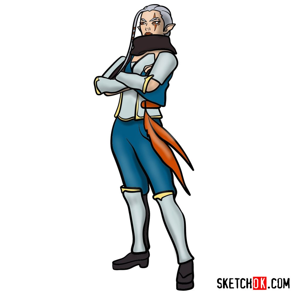How to draw Impa from The Legend of Zelda game
