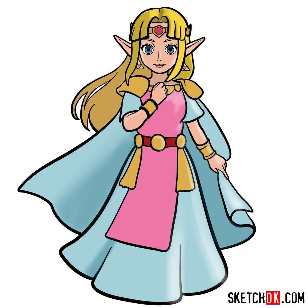 How to draw Princess Zelda (A Link to the Past)