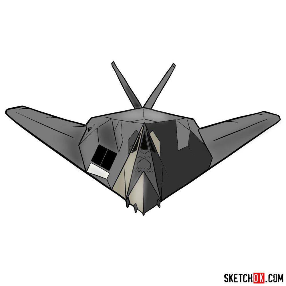 How to draw Lockheed F-117 Nighthawk