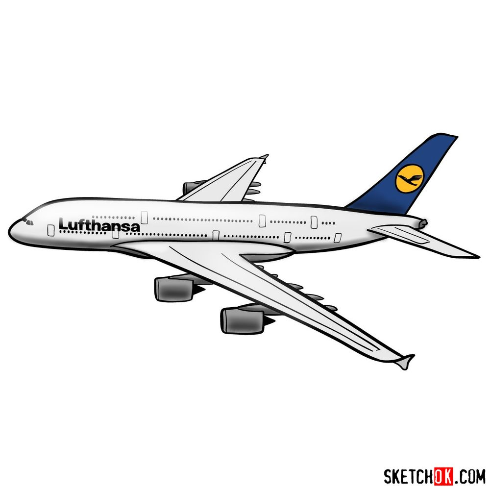 How to draw Airbus A380 (Lufthansa) side view