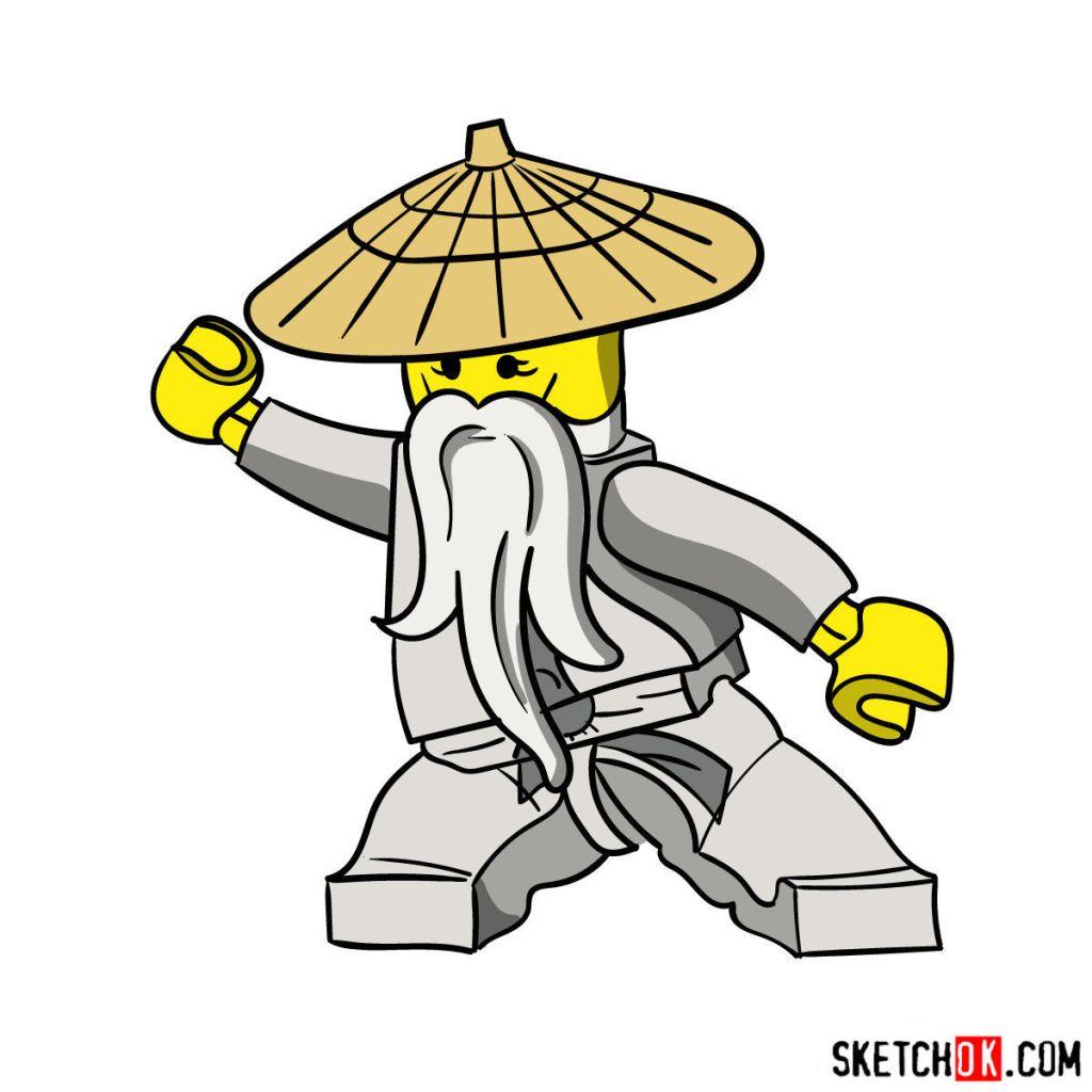 How to draw Sensei Wu from LEGO NinjaGO