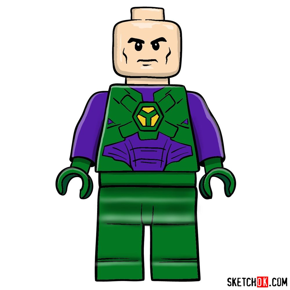 How to draw Lex Luthor LEGO minifigure