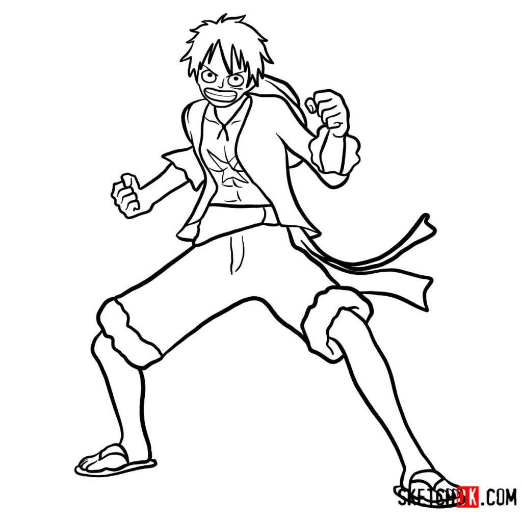 How to draw Monkey D. Luffy full growth