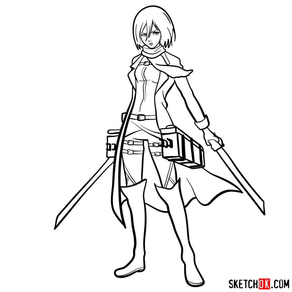 How to draw Mikasa Ackerman with her weapons