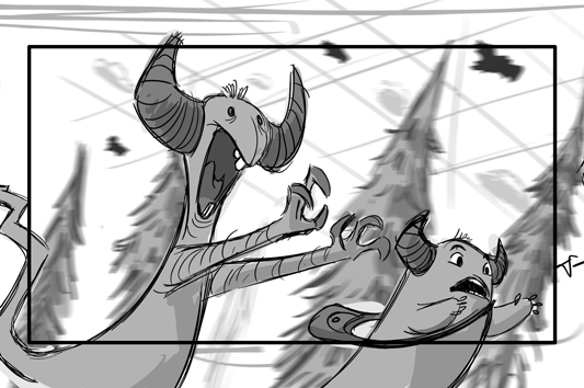 An up shot of Uther and Yam running away from giant bats in the sky.