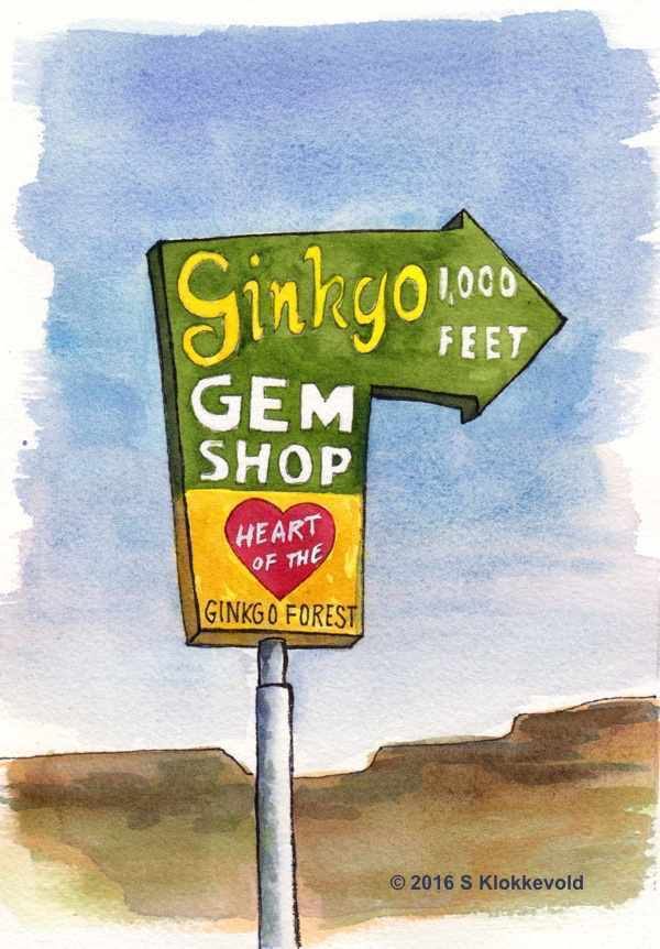 Ginkgo Gem Shop Sign