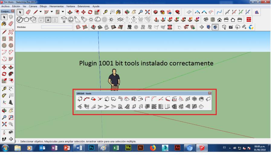 como poner agregar insertar instalar plugin 1001 bit tools en SketchUP 2018