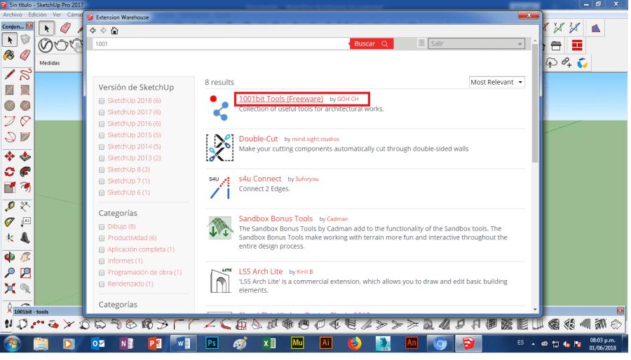 instalar plugin 1001 bit tools en SketchUP 2018 windows 7 8 10