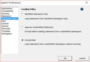 Extensions Policy tab