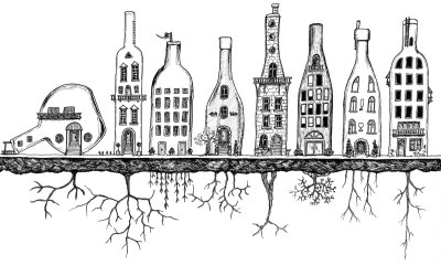 cityscape made of wine bottles