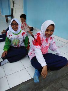 Refleksi siswa saat terjadi gempa bumi, dokument pentak lanud adisutjipto. (Dok. Pentak Lanud Adisutjipto)