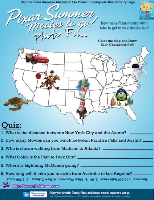 Pixar Summer Movies Activity Page by SKGaleana