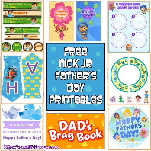 Free Nick Jr Fathers day Printables