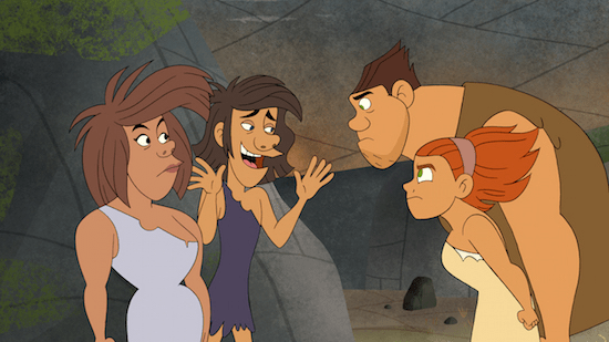 "When the snooty Boors move into the cave next to the Croods, Grug and Ugga quickly realize that neighbors don't always get along.  Tune in to see if the stubborn Croods can resolve the first family feud when ""Dawn of the Croods"" debuts exclusively on Netflix on 12/24. Photo: DreamWorks Animation) AND LEGAL LINE ( DreamWorks Dawn of the Croods 2015 DreamWorks Animation LLC. All Rights Reserved."