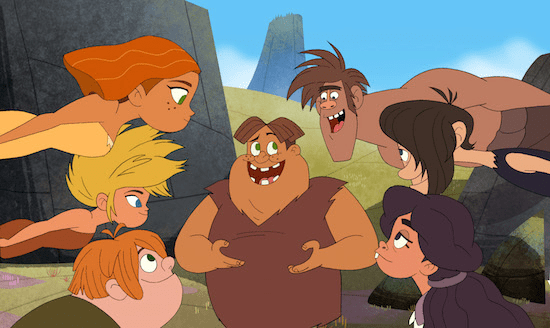 "Everyone in Ahhh! Valley is bonking to know if Thunk's imaginary hero, Hunk Tugga-lug, will escape the fiery depths of a volcano.  Find out how Thunk ends the very first fictional story when ""Dawn of the Croods"" debuts exclusively on Netflix on 12/24. Photo: DreamWorks Animation) AND LEGAL LINE ( DreamWorks Dawn of the Croods 2015 DreamWorks Animation LLC. All Rights Reserved."