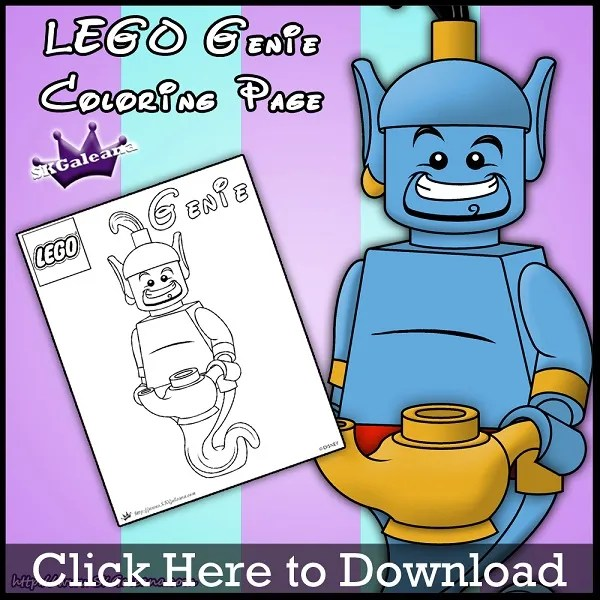 Lego Genie Printable Coloring Page From Aladdin