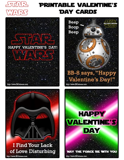 Free Printable Star Wars Valentines Day Cards SKGaleana