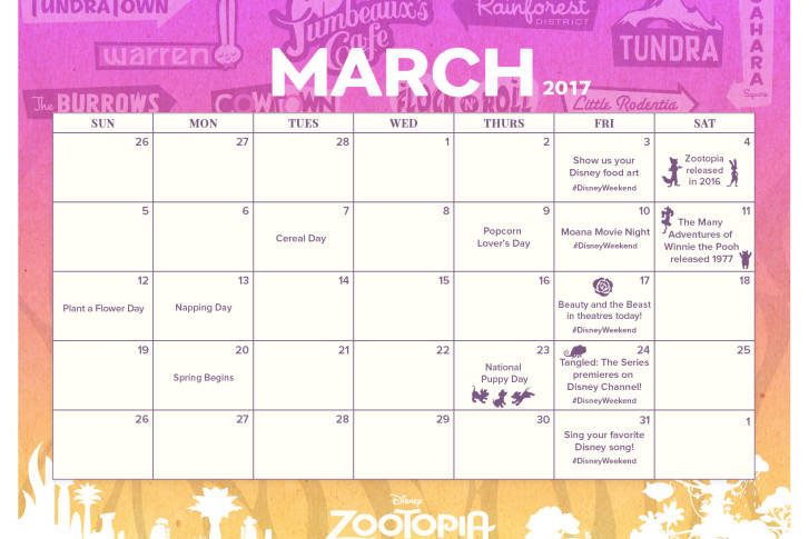 picture relating to Disney Printable Calendar referred to as Printable Disney March 2017 Printable Calendar SKGaleana