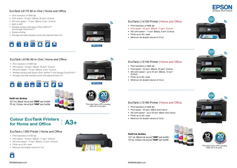 EPSON ALL PRODUCTS RANGE JULY 2020 6