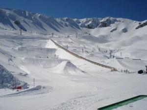 View over the snowpark of Ovindoli