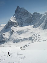 skiing underneath the Matterhorn