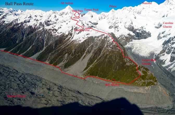Ball Crossing Ski Touring Route from Tasman Side