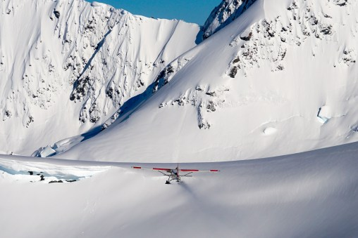 Ski Plane taking off on the Tasman Glacier.