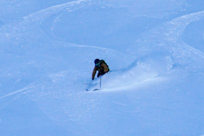Adina skiing on the spearhead