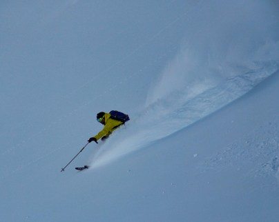 Joel skiing on the Spearhead