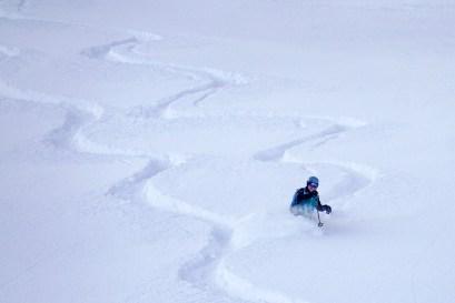 Glenn powder skiing near Sapphire 2.