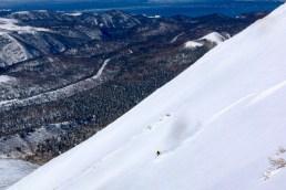 Joel skiing lower flanks of Rausu dake