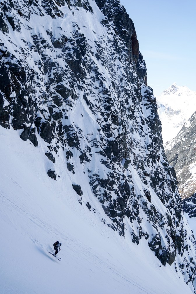 Hans skiing lower big chasm
