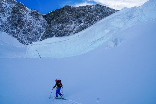 Hans skinning up Bannie Glacier