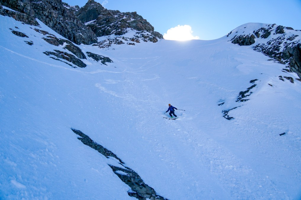 Sibbald - skiing below couloir
