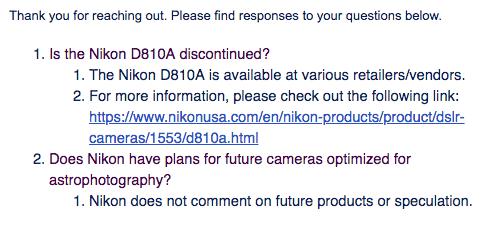 nikon d810a discontinued