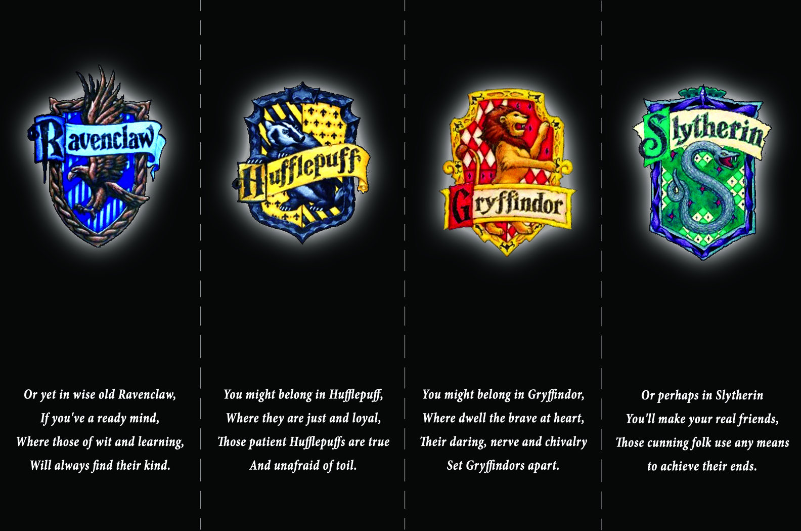Harry Potter Bookmarks The Four Houses Of Hogwarts From Skiffleboom