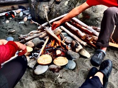 Toastin naan on the campfire