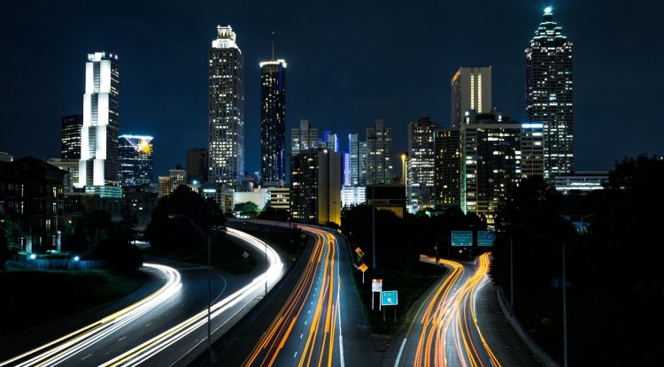 Beautiful night city landscape with roads