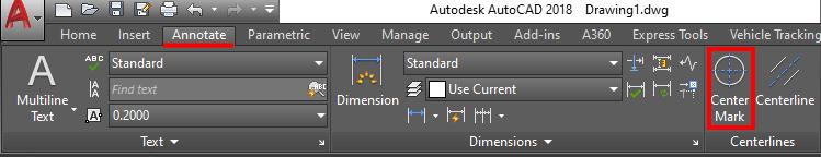 Center mark icon in AutoCAD