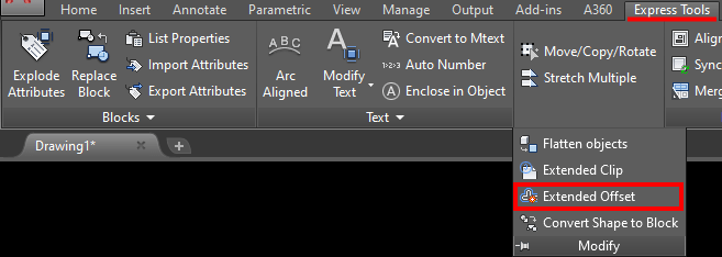 extended offset in autocad