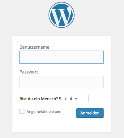 Screenshot WordPress Login (WordPress.org)