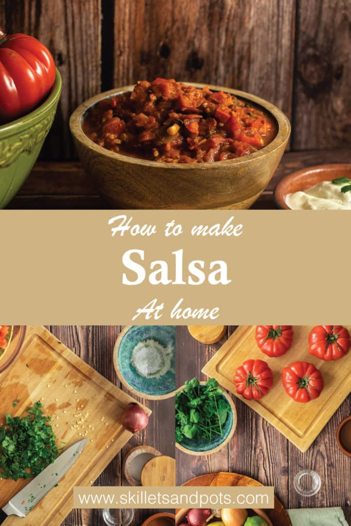 Bowl of salsa and tomatoes on a cutting board